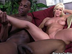 Have fun jerking off to this hardcore scene where the busty blonde milf Kaylee Brookshire is drilled by this guy's monster black cock on camera.