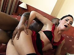 Kid Jamaica gets turned on by Alma Blue and then drills her back porch