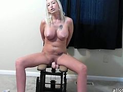 This busty blonde bought a fucking machine for herself. Her boyfriend filmed her as she was using it to fuck her twat. She had a great time riding that dildo.
