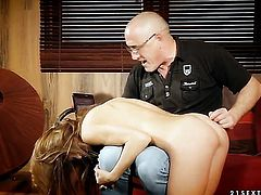 Brunette Alice Romain gets her mouth attacked by dudes thick rock hard love torpedo