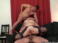 Grandma Friends brings you an exciting free porn video where you can see how a wild mature redhead takes on two young rods of meat and gets banged into heaven.