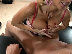 Tara Holiday, Rusty Nails and Giselle Mari are playing dirty games indoors. The blonde mom pleases the dude with a blowjob and a titjob and allows him to drill her holes and then they fuck ardently and don't pay attention to the girl.