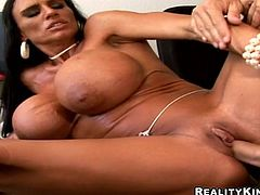 What the fuck is wrong with her tits, he thinks and penetrates her wet beaver right on her desk! Damn, she is so loud, when reaches orgasm!
