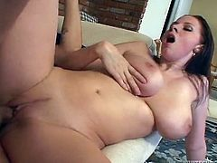 Brunette chick with huge boobs fucks and sucks passionately