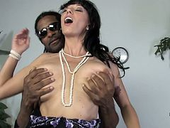 Alia Janine gives passionate blowjob to Black dude in the presence of some White guy. Then she gives a titjob and gets fucked rough.