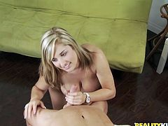 Big-breasted blonde Dayna Vendetta is having an interview with some lucky man. She favours the guy with a fantastic titjob and then they bang in side-by-side position on a sofa.
