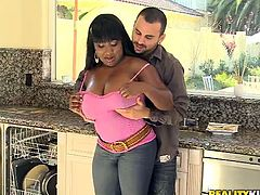Click to watch this chubby ebony, with giant boobs wearing jeans, while she goes hardcore with a white man. She loves having interracial sex!
