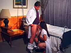 What an amazing and smoking hot nurse she is! Honey takes that huge cock in her mouth and then it drives her tight pussy so wild! Doctor adventures.