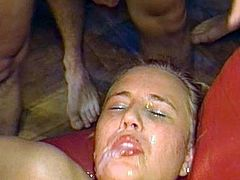 Dirty babe goes pretty nasty while gagging and swallowing creamy cum loads
