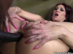 Check this brunette cougar, with giant pierced tits wearing fuchsia panties, while she has interracial sex and moans like a real pornstar!