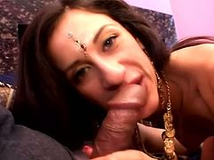 Gorgeous girl in Indian traditional clothes gives a blowjob with pleasure. Later on she lies down on a couch and gets fucked in her smooth pussy.