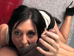 What an amazing milf is working on that huge black cock! It moves deep in her mouth first and then she spreads her legs to feel it in her twat!