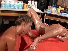 Hotties are having a great time deep stimulating one another's cramped vag