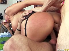Kaylynn is a horny as hell juicy milf with sexy thick ass and nice boobs. Hot woman in black stockings gets double penetrated by her sons best buddies. Watch her get double used by Erik Everhard and Mick Blue.
