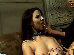Brunette Mandy Bright with massive jugs and Maria Bellucci do lewd things together