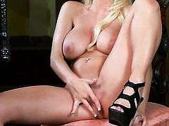 Lacy Spice with gigantic boobs and clean snatch groans as she fucks herself with toy