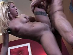 A hot smoking hot bitch sucks on a hard cock and then gets it shoved balls deep into her fuckin' gash, check it out right here!