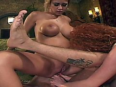 Blonde destroyed by two cocks.