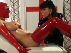 Hot babes in latex costumes are enjoying rough lesbiam femdom porn together