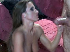 Lizz Tayler chokes on a big cock before being fucked