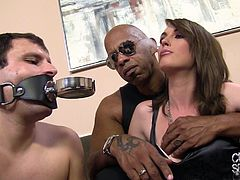 Prepare your cock for this brunette, with natural boobs wearing a black dress, while she gets nailed by a black dude with her boyfriend next to her!