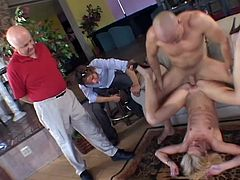 This guy is forced by his wife to watch as she gets her brains banged out by a hung stud who makes her cum over and over again.