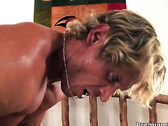 Extremely horny whore Jamie Elle gets jizz covered after sex with horny guy