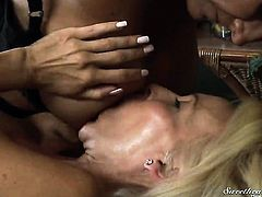 Erica Lauren shows off her hot body while getting tongue fucked by lesbian Debi Diamond
