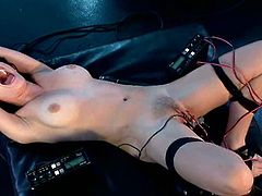 So that divine bitch Aiden Starr twitches her pussy and those twitches are attached to that electrode device with wires.