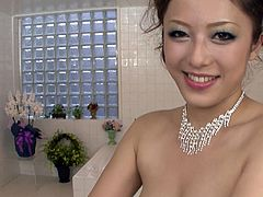 Long haired well graced seductive Asian wench with sweet boobs gets her pussy carefully washed by the arm of her horny felow, in turn she rewards him by passionate penis washing. Watch this bath fuck in Jav HD porn clip!