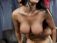 Keiran Lee pops out his boner to fuck Eva Karera with giant boobs in the back yard
