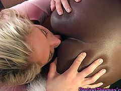This black couple uses that sweet chick to full satisfaction. That black animal nailing her wet cunt while she is licking that ebonies cunt.