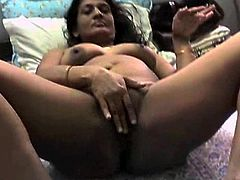 Horny brunette enjoys rough sex with her hubby during amateur cam show