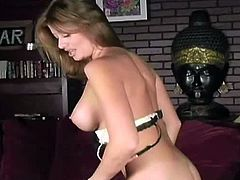 Lisa Daniels is a top-notch pornstar. She seduces in sexy lingerie and black stockings. She reveals her big boobs and her pussy after she puts her panties aside.