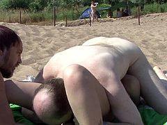 Hardcore outdoor gangbang scene with brunette