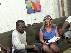 This busty cougar went in room where was three horny black dudes with big rods. They nailed this slutty MILF in all of her holes and cum in her mouth.