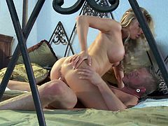 Have a good time watching this long haired blonde, with huge boobs and a nice ass, while she rides like a pornstar cowgirl on this dude's shaft!