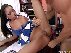 Lovely school girl Raven Bay is incredibly sexy in her blue and white cheerleader uniform. Raven haired hottie with sexy tits gets her bald pussy eaten out by hot guy before she takes his love pole.