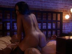 She is a stunning ebony siren with a luxury ass out there! Babe takes him for a blowjob and then erotica begins! Honey rides his huge one!