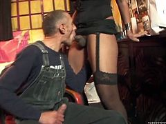 Raoul Montana is playing dirty games with hot shemale Stefany Di Castro. Raoul sucks Stefany's big cock and then fucks her ass deep and hard from behind.