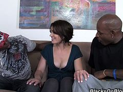 Tempting Brunette Gets Fucked Hard By Two Big Black Cocks