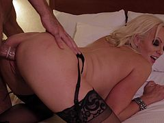 Have fun with this hardcore scene where the gorgeous blonde babe Stormy Daniels has her tight pussy drilled by a guy while wearing stockings.
