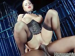 This bitch has a couple of hung black dudes under her feet and rides their hard cocks, check it out right here, yo! It's hot!