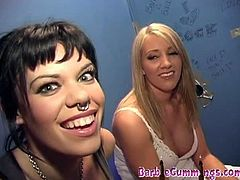 Check out horny blonde slut Barbie Cummings and her sexy brunette friend Gia Paloma switching turns to suck and fuck big cock at the glory hole. They just love it!