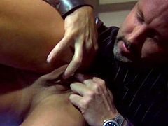 Watch Devon Michaels getting a mouthful of cum in this hardcore scene after being fucked by a large cock.