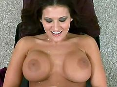 Brunette MILF with big tits takes lingerie off and comes up to a guy. Later on she makes lucky guy cum with her skillful hands.