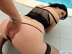 Lora had her thigh high stockings on as she laid down by the pool and let this guy fuck her mouth then drill his fat cock into her ass.