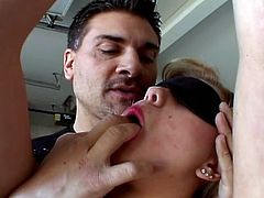 Aubrey Adams and her lover never miss an opportunity to play some nasty games. She is his slaved and took his cock deep inside her tight pussy and into her virgin asshole too!