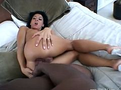 Sexy brunette white babe Sandra Romain loves huge black monster cocks in her both holes, as you can watch her in this hot video, where our black hunk with his big black monster cock is impaling her tight pussy and sexy butt hole hard and deep.