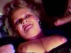Chubby slut with huge melons gets hard cock in her twat by two nasty and horny dudes, she screams loud during that wild threesome sex.